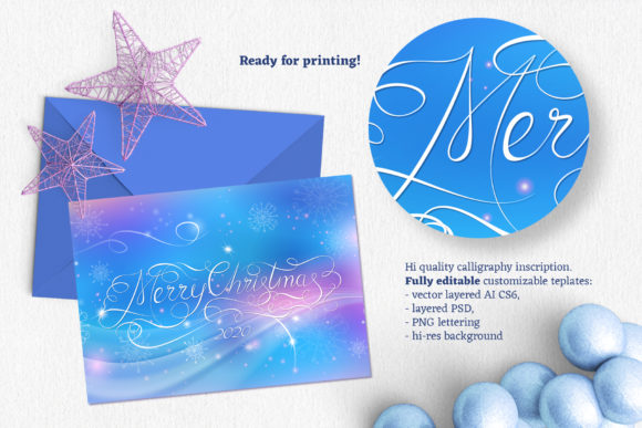 Merry Christmas Calligraphy Gift Card Graphic Illustrations By ilonitta.r - Image 2