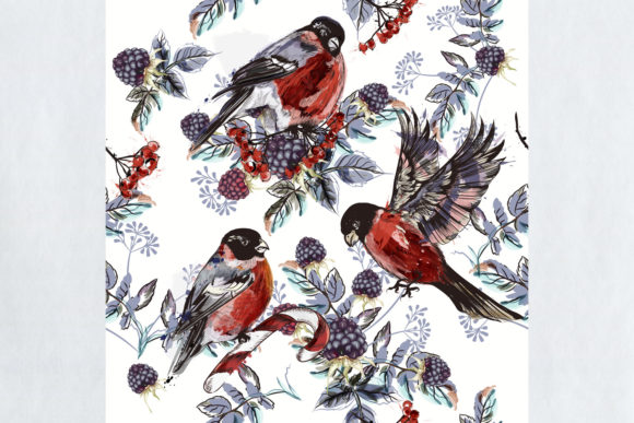 Download Free Christmas Pattern Rowan Berries Birds Graphic By Fleurartmariia for Cricut Explore, Silhouette and other cutting machines.