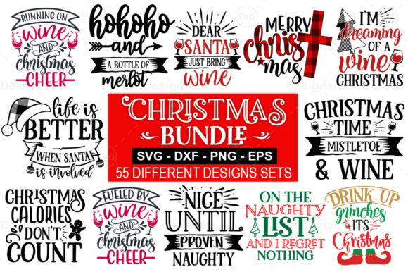 Print on Demand: 55 Christmas SVG Bundle Graphic Print Templates By DesignSmile