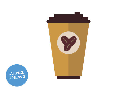 Download Free Large Paper Coffee Cup Flat Icon Graphic By Sasongkoanis for Cricut Explore, Silhouette and other cutting machines.