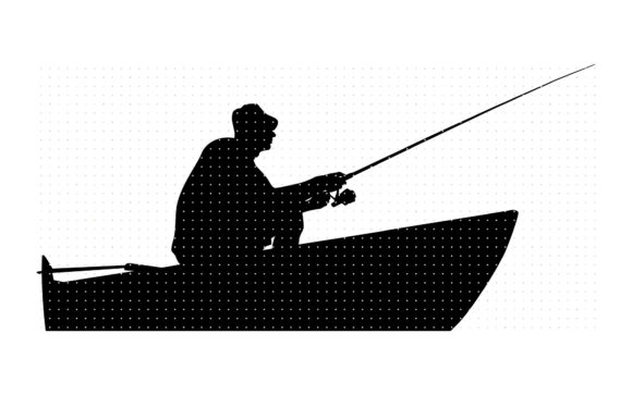 Download Free Fisherman On A Boat Graphic By Crafteroks Creative Fabrica for Cricut Explore, Silhouette and other cutting machines.