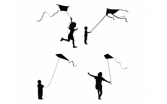 Download Free Little Boy And Girl Flying A Kite Graphic By Crafteroks for Cricut Explore, Silhouette and other cutting machines.