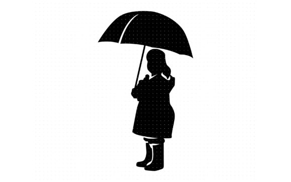 Download Free Little Girl Holding An Umbrella Graphic By Crafteroks Creative Fabrica for Cricut Explore, Silhouette and other cutting machines.