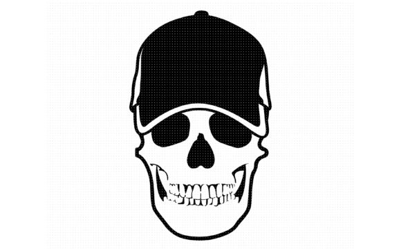 Print on Demand: Skull Wearing a Baseball Cap Graphic Crafts By CrafterOks