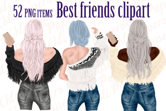 Best Friends Clipart,Girls with Phones Graphic Illustrations By ChiliPapers