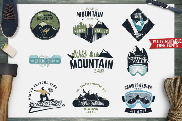 Winter Snowboarding Logo Set Graphic Logos By JeksonGraphics