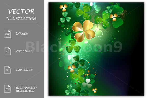 Glowing Golden Shamrock Graphic Illustrations By Blackmoon9