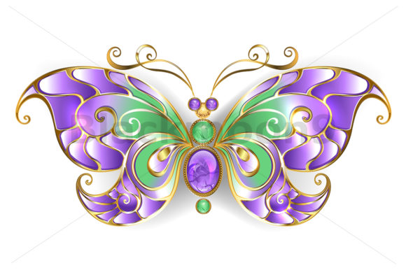 Gold Butterfly with Amethyst Graphic Illustrations By Blackmoon9