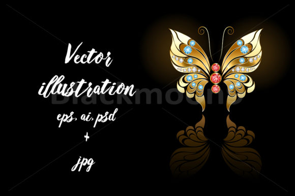 Gold Butterfly with Gems Graphic Illustrations By Blackmoon9