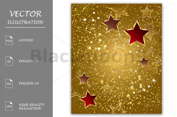 Gold Foil with Stars Graphic Backgrounds By Blackmoon9
