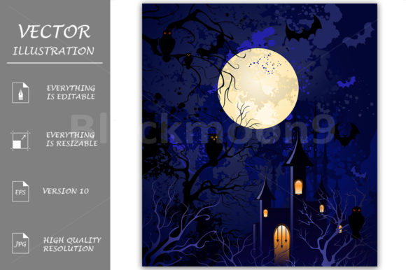 Moonlit Night on Halloween Graphic Illustrations By Blackmoon9