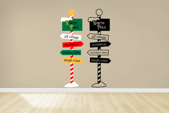 Christmas North Pole Sign Post Graphic Crafts By DesignedByGeeks - Image 1
