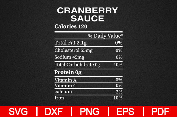 Download Free Cranberry Sauce Nutrition Gift Graphic By Artistcreativedesign for Cricut Explore, Silhouette and other cutting machines.
