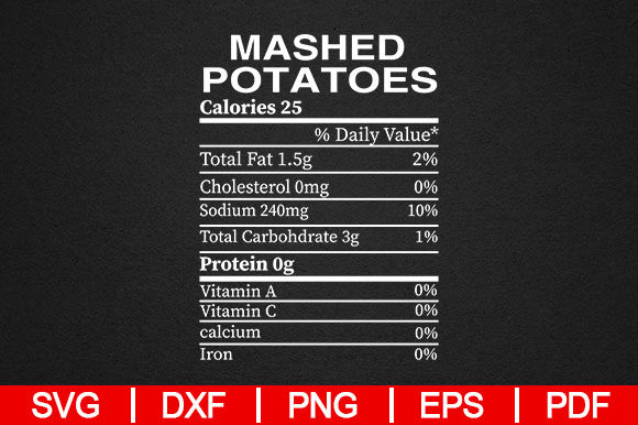 Download Free Funny Mashed Potato Nutrition Graphic By Artistcreativedesign for Cricut Explore, Silhouette and other cutting machines.