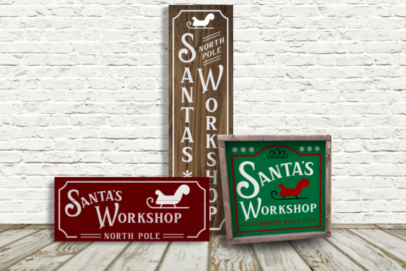 Download Free Santa S Workshop Christmas Sign Trio Graphic By Designedbygeeks for Cricut Explore, Silhouette and other cutting machines.