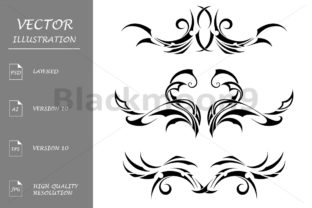 Download Free Set Tribal Tattoos Graphic By Blackmoon9 Creative Fabrica for Cricut Explore, Silhouette and other cutting machines.