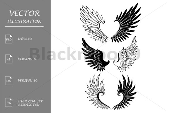 Set of Wings for Tattoo Graphic Illustrations By Blackmoon9