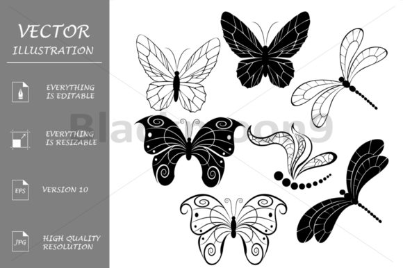 Silhouettes of Butterflies Graphic Illustrations By Blackmoon9