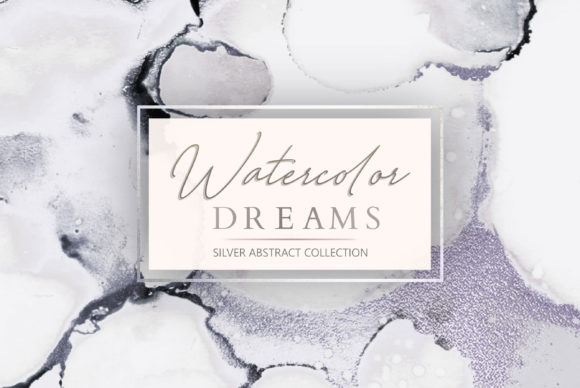 Print on Demand: Silver Watercolor + Ink Textures Graphic Textures By Creative Paper