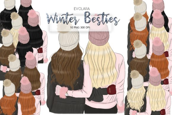 Best Friends Clipart Winter Besties Grafik von evolara