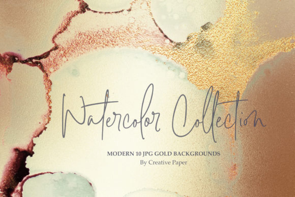 Print on Demand: Gold Ink + Watercolor Foil Textures Graphic Textures By Creative Paper