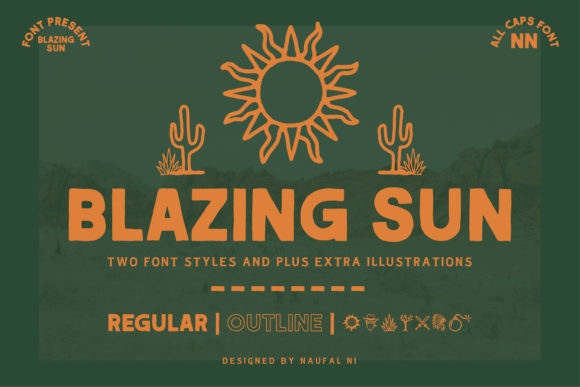 Blazing Sun Display Font By Naufal NI