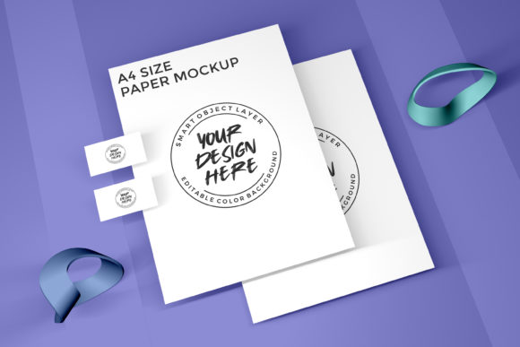 Business Card and A4 Paper Size Mockup Graphic Product Mockups By suedanstock