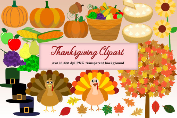 Download Free Thanksgiving Clipart Pack Graphic By Mrn Digishop Creative Fabrica for Cricut Explore, Silhouette and other cutting machines.
