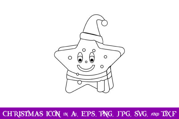 Download Free Santa Star Christmas Icon Graphic By Purplespoonpirates for Cricut Explore, Silhouette and other cutting machines.