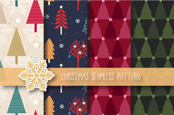 Print on Demand: Christmas Tree Seamless Pattern Graphic Patterns By JANNTA