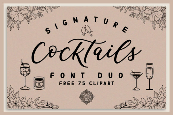Print on Demand: Signature Cocktails Duo Script & Handwritten Font By Graphix Line Studio