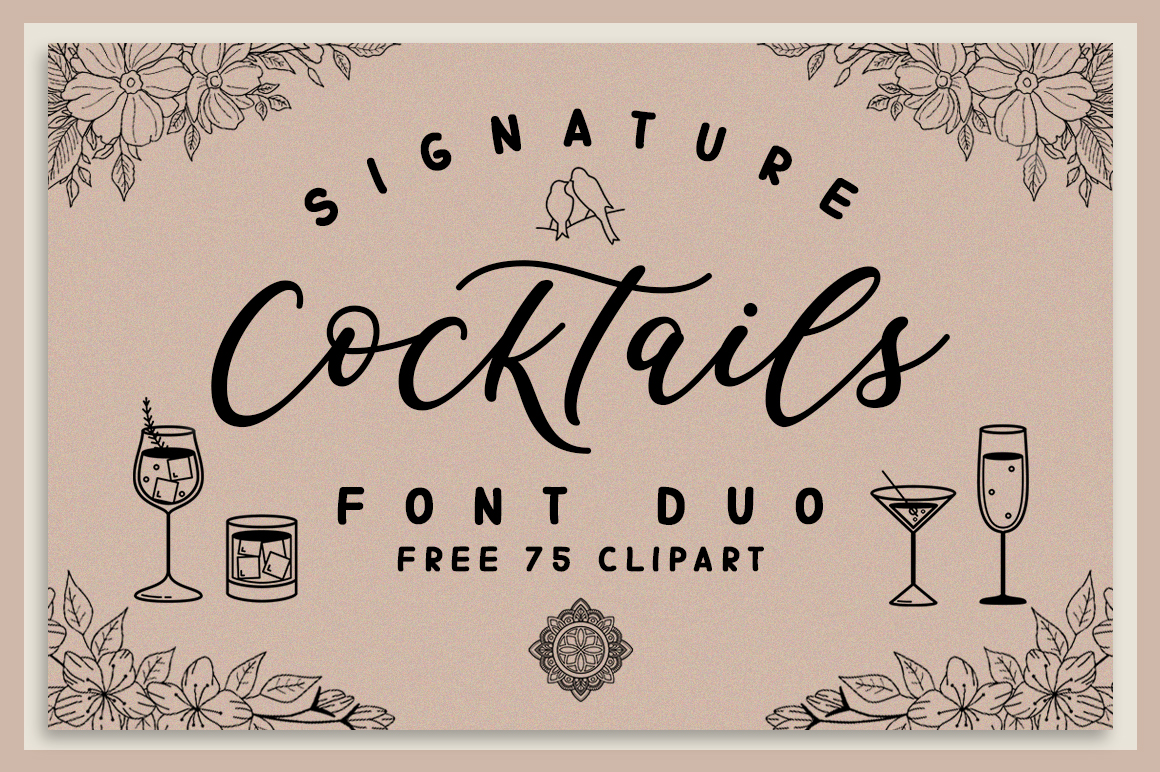 Download Free Signature Cocktails Duo Font By Graphix Line Studio Creative for Cricut Explore, Silhouette and other cutting machines.