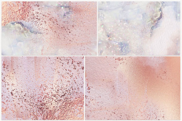 Print on Demand: Rose Gold Watercolor Marble Textures Graphic Textures By Creative Paper - Image 3