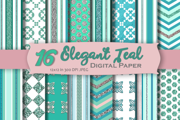 Download Free Elegant Teal Digital Paper Graphic By Mrn Digishop Creative for Cricut Explore, Silhouette and other cutting machines.