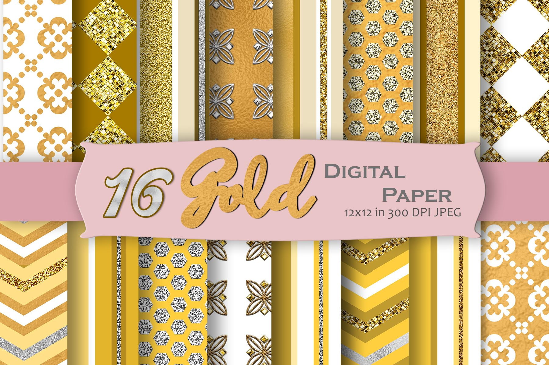 Download Free Gold Geometric Digital Paper Pack Graphic By Mrn Digishop for Cricut Explore, Silhouette and other cutting machines.