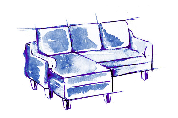 Blue Sofa in Sketch Watercolor Drawing Style Home Craft Cut File By Creative Fabrica Crafts