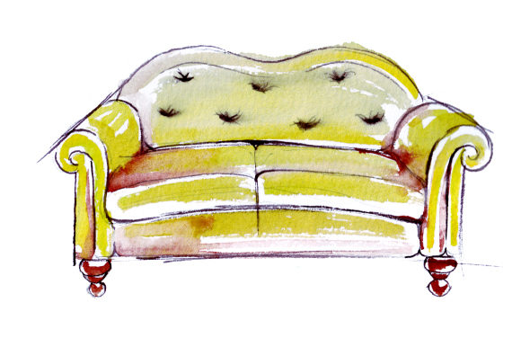 Yellow Sofa in Sketch Watercolor Drawing Style Home Craft Cut File By Creative Fabrica Crafts