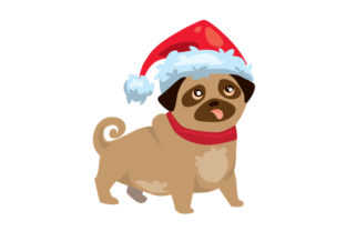 Christmas Dog with Santa Hat Christmas Craft Cut File By Creative Fabrica Crafts