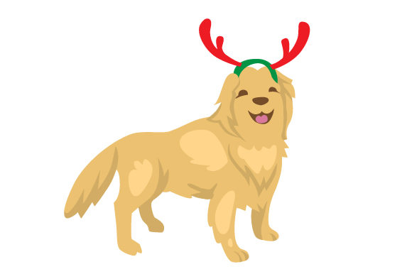 Download Free Christmas Golden Retriver With Raindeer Antlers Svg Cut File By for Cricut Explore, Silhouette and other cutting machines.