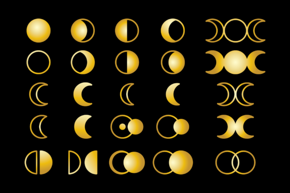 Moon Cycle Icons Clip Art Set Graphic Item