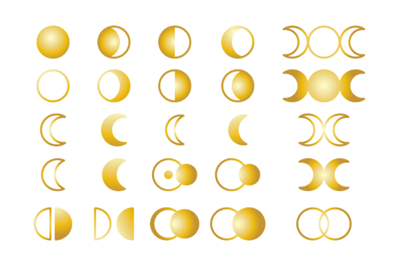 Moon Cycle Icons Clip Art Set Graphic Design