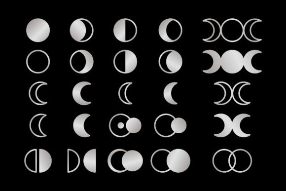 Moon Cycle Icons Clip Art Set Graphic Preview