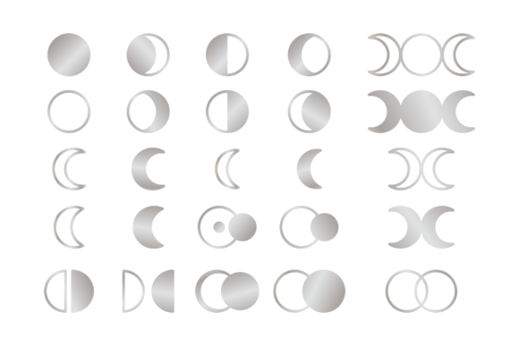 Moon Cycle Icons Clip Art Set Graphic Image