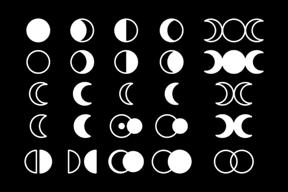 Moon Cycle Icons Clip Art Set Graphic Design Item