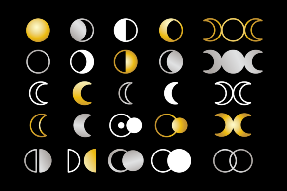 Moon Cycle Icons Clip Art Set Graphic Download