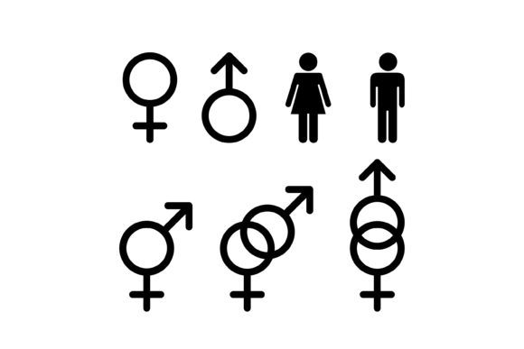 Print on Demand: Silhouette Gender Icon Grafik Icons von sabavector