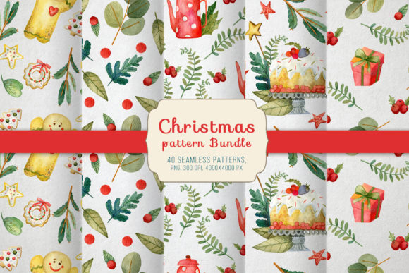 Print on Demand: Christmas Pattern Bundle Graphic Textures By By Anna Sokol