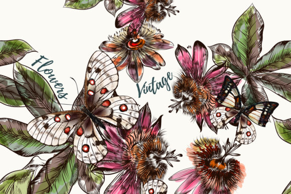 Fashion Vector Pattern with Butterflies Graphic Patterns By fleurartmariia