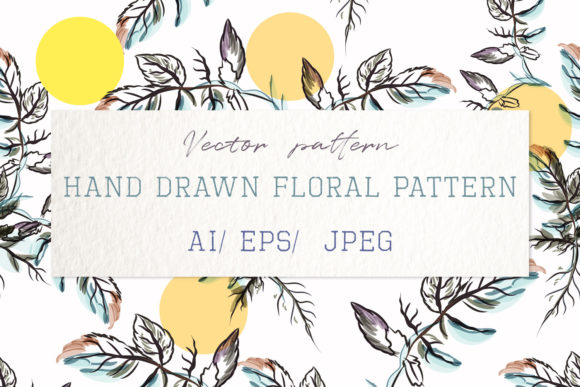 Pattern with Watercolor Leaves and Circl Graphic Patterns By fleurartmariia