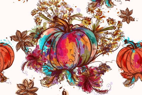 Beautiful Pattern Pumpkins Watercolor Graphic Patterns By fleurartmariia